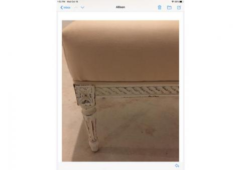 Cream upholstered bench with wood carved frame
