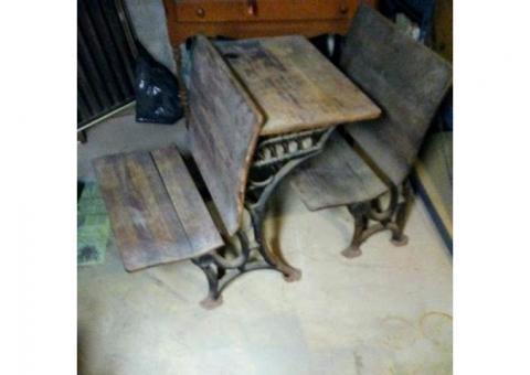 "Antique school desk set - ""The Beauty - Sidney Ohio"""